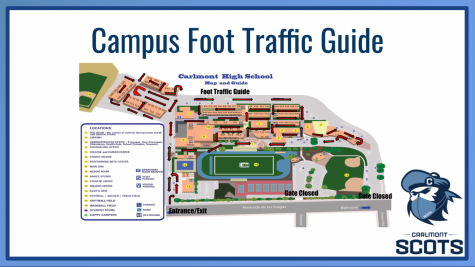 """One of the slides presented at the seminar shows how specific hallways will be designated as one-way or 2-way hallways. """"In most cases, the one-way or one-directional hallway [is used] to minimize the crossing of students, but there are some hallways that are going to be two way,"""" said Greg Patner, the administrative vice principal. """"You can see some of those arrows are two-way arrows like near the football field, and then there"""