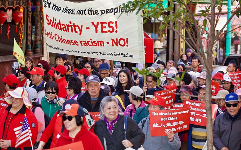Protests like this one, which occurred in San Francisco's Chinatown, are done to combat the larger problem of prejudice towards the Asian community.