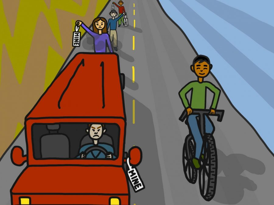 Many follow the conventional path of owning their own car, while using a bicycle is the more uncommon path. Traveling by bike carries benefits, such as exercise and absence from car pollution, however many still pursue the standard even as the demand is low.