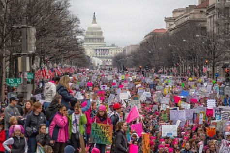 Hundreds of thousands of people marched for women's basic and human rights in the annual Women's March in Washington, D.C. on Jan. 21, 2017.