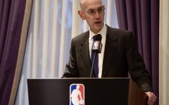 Adam Silver, the NBA's commissioner, gives a speech to the NBA's board of governors.