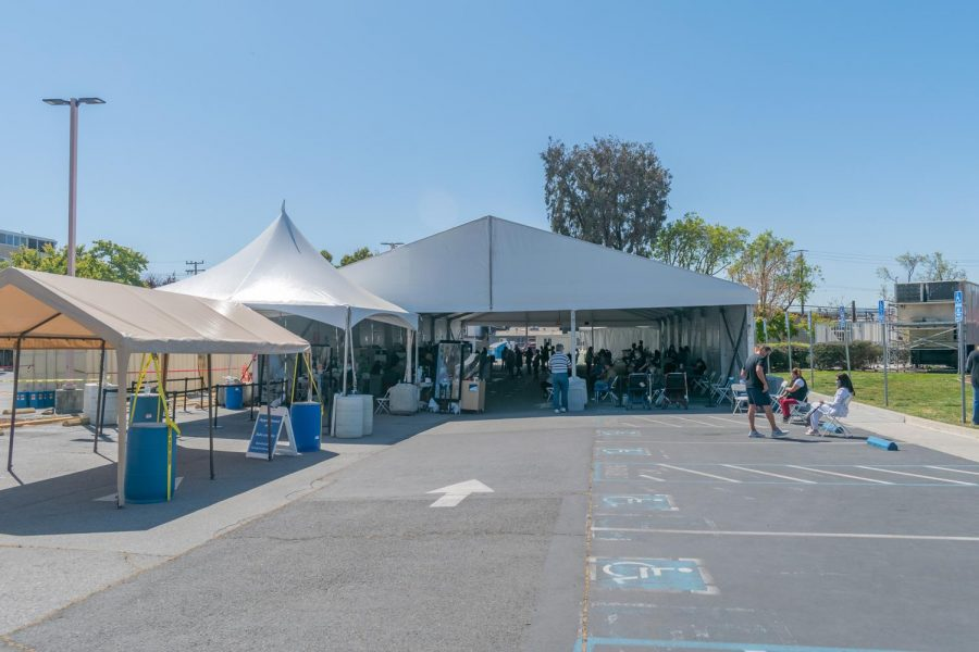 A vaccination site stands in a parking lot on the campus. It is currently appointment only.