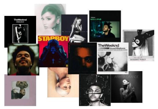 Ariana Grande's and The Weeknd's albums are pictured together in a collage.