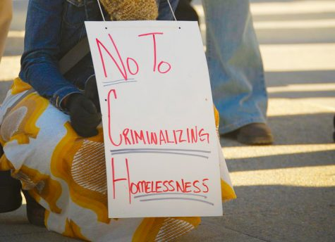 Protesters gather to rally against a law that unfairly targets the homeless population. Photo edited by Chelsea Chang.