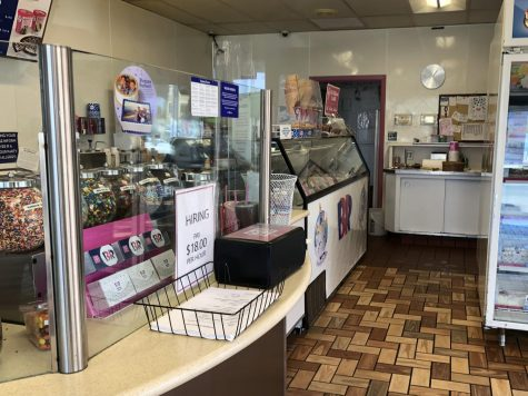 In San Carlos, a local Baskin-Robbins advertises wages set at $18 per hour as the summer months begin.