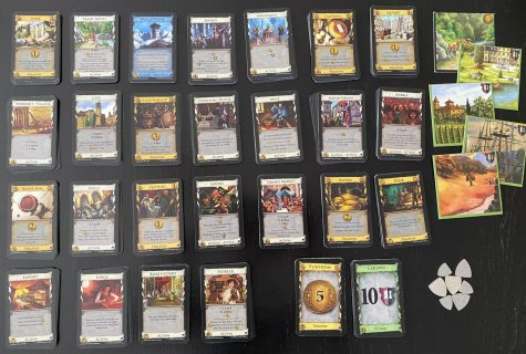 These are all the cards in Dominion: Prosperity. The main things that this expansion adds to Dominion are bigger and better base cards that go beyond Gold and Province, actions cards that provide victory points, and cards that cost seven coins.