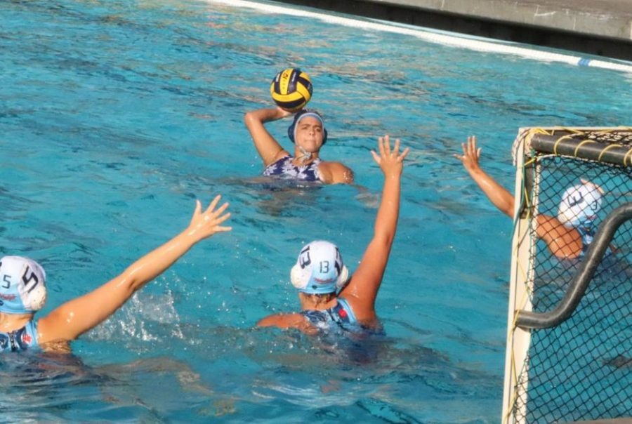 Anika Marino, a senior, lines up to shoot the ball.