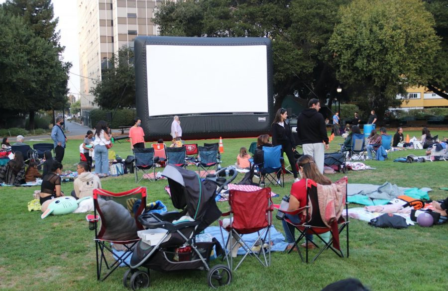 Attendees set up their own blankets and chairs in preparation for the movie.