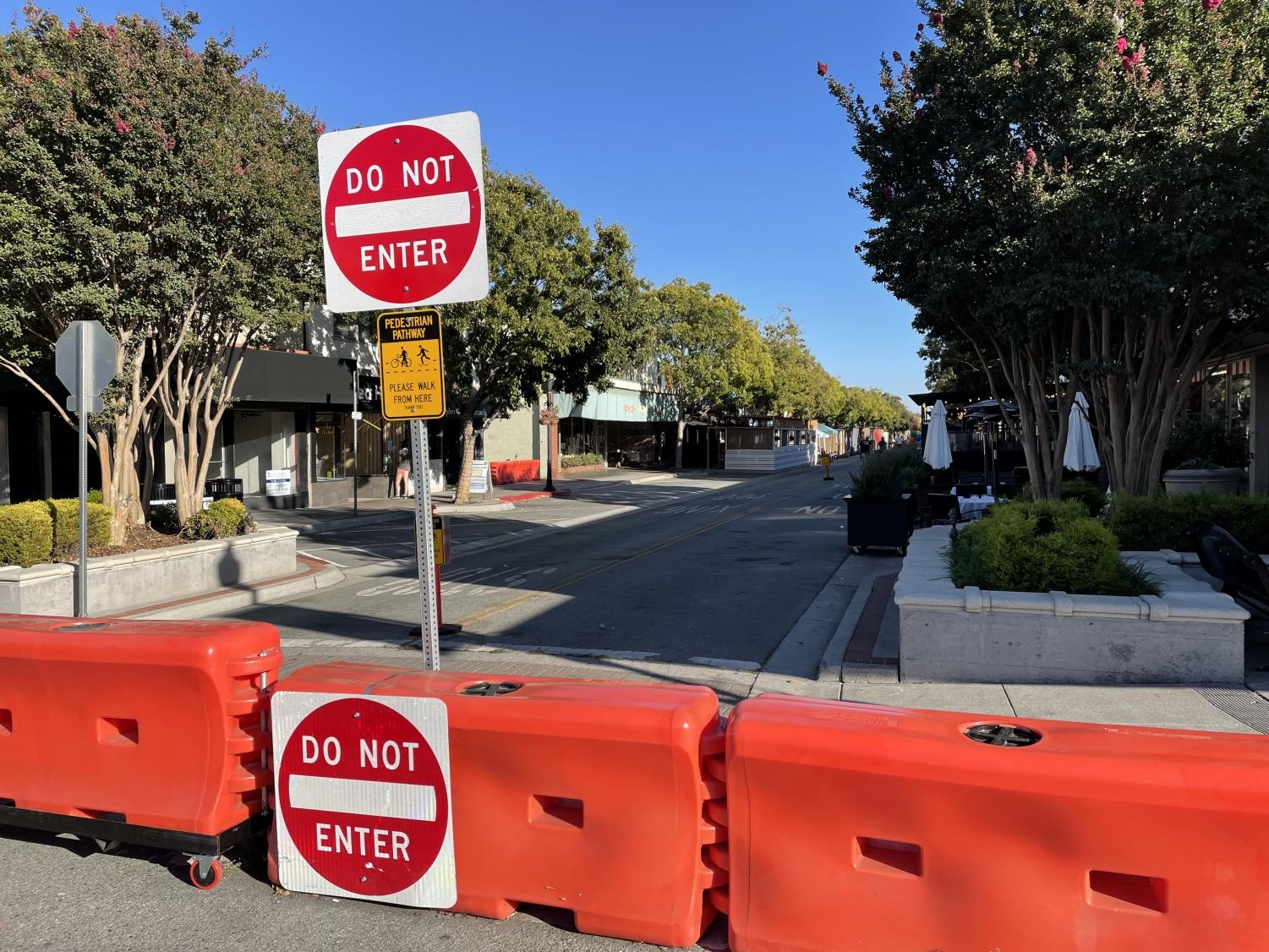 """The city of San Carlos closed off Laurel Street, making the street pedestrian-only access. """"Some of the roads, like on Laurel street, were closed to accommodate outdoor dining and parklets to help our businesses,"""" Haque said."""