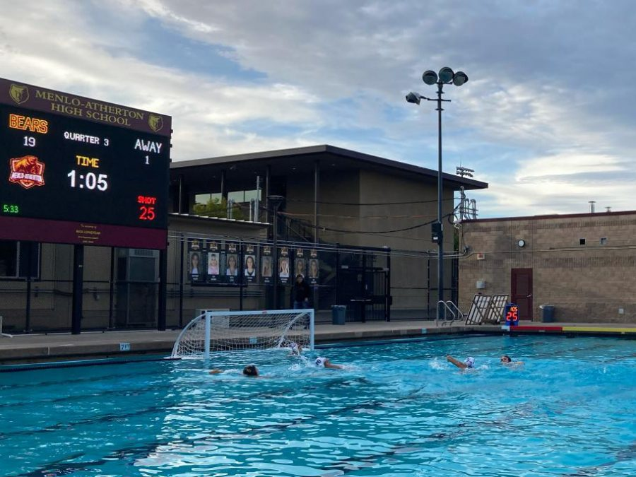 Carlmont+and+M-A+players+swim+towards+the+goal+during+a+fast+break.