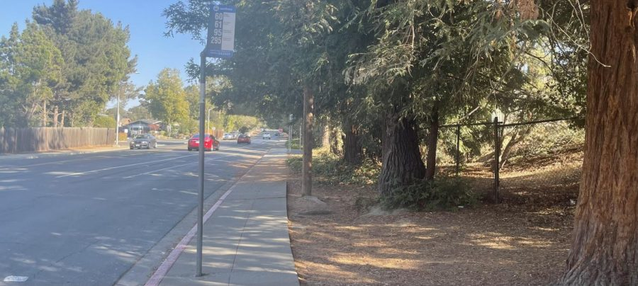 The SamTrans 60, 61, 95, and 260 bus stop sits on the street outside of Carlmont.