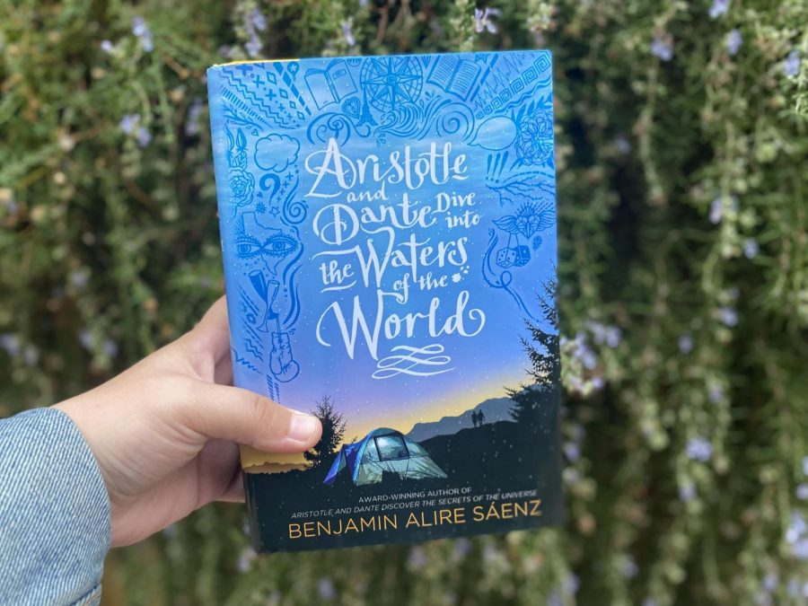 The book cover of Aristotle and Dante Dive into the Waters of the World was designed, illustrated and hand-lettered by Mark Brabant, Sarah Jane Coleman and Chloë Foglia.