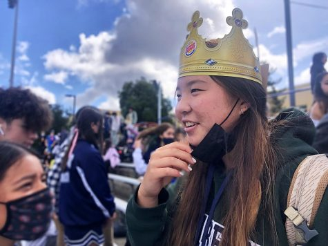 Homecoming nominee Isabelle Won said, Im going through with this because I think it will be fun. Here, Won tests the weight of a crown on her head in the days leading up to the homecoming game.