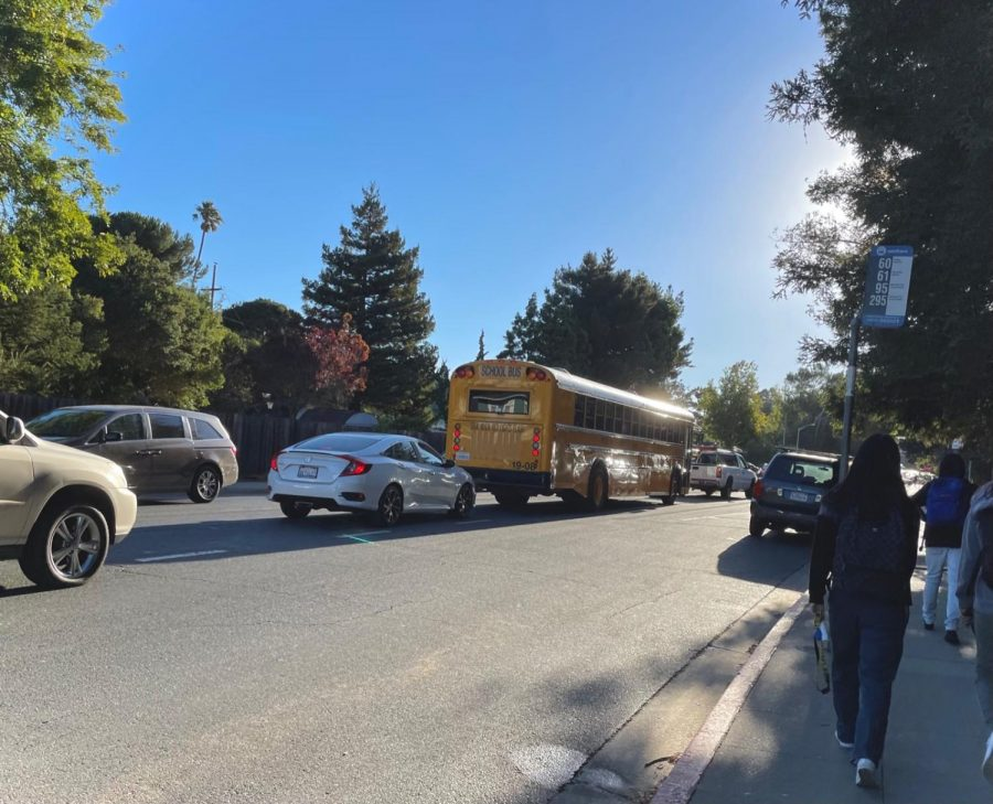 Congestion and traffic jams outside of the entrance to Carlmont present a major challenge for students who are trying to park.