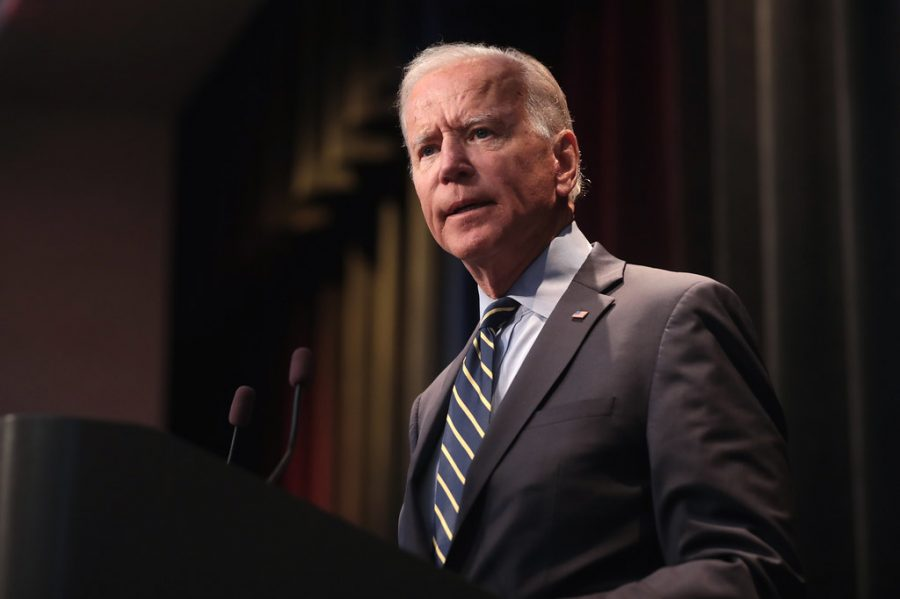 Joe Biden speaking at the Iowa Federation of Labor Convention in 2019.