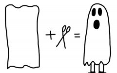 """A ghost costume is easy to make and requires only fabric from a sheet or tablecloth and scissors. """"Get old school spooky and patch your costume together from things you already have in the house,"""" said London-based charity Hubbub, as part of its Sew Spooky campaign."""